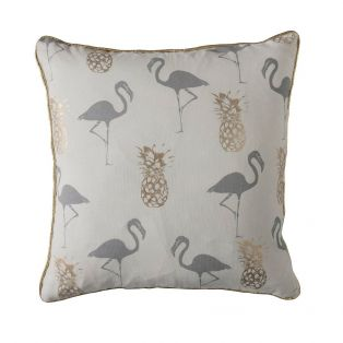 Tropical Luxe Cushion in Gold & Grey