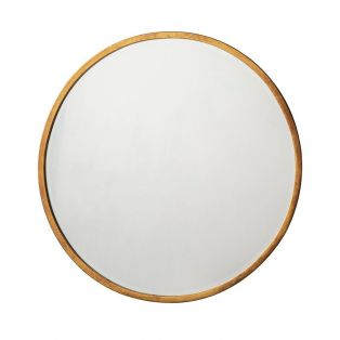 Newport Round Mirror in Antique Gold, Small