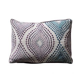 Ellis Embroidered Cushion in Pink & Blue