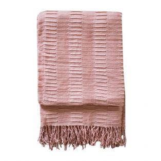 Delia Pleat Textured Throw in Pale Pink