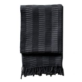 Delia Pleat Textured Throw in Charcoal