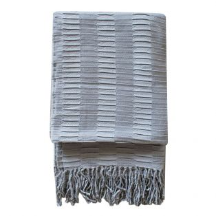 Delia Pleat Textured Throw in Duck Egg Blue