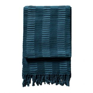 Delia Pleat Textured Throw in Teal