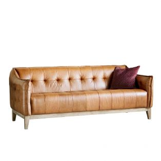 Parker Three-Seater Leather Sofa in Golden Brown