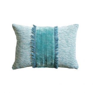 Lisa Velvet Cushion in Peacock Blue