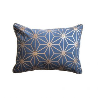Oswald Geo Cushion in Navy & Gold