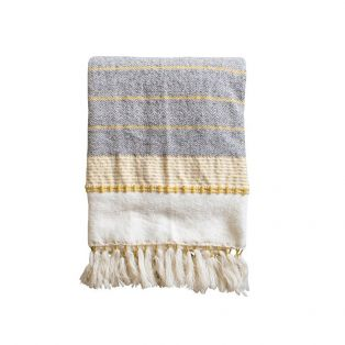 Nime Textured Cotton Throw in Ochre & Grey