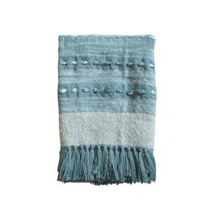 Macon Handwoven Throw in Peacock Blue