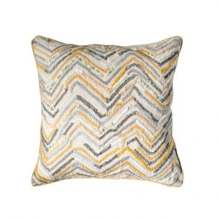 Prabal Embellished Cushion in Flax & Grey