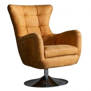 Scott Lounge Swivel Chair in Saddle Tan