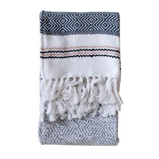 Erie Cotton Throw in Grey and Blush