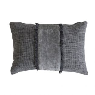 Lisa Velvet Cushion in Storm Grey