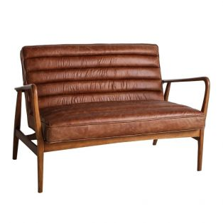 Scott Two-Seater Leather Sofa in Vintage Brown