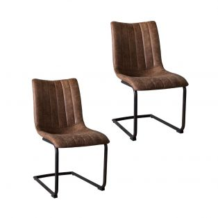 Coll Dining Chair in Saddle Tan, Set of two