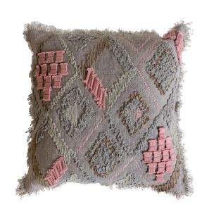 Mathilda Fringed Cushion in Taupe