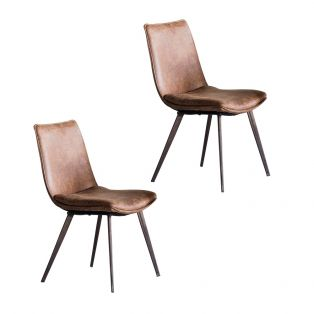 Theon Dining Chair in Brown, Set of two