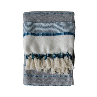 Melina Hand-Tied Tasseled Throw in Teal