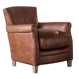 Remington Leather Lounge Chair in Vintage Brown