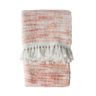 Noa Embroidered Woollen Throw in Pink