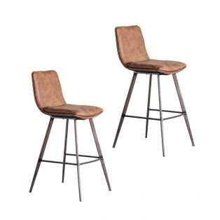 Persis Bar Stool in Brown, Set of Two