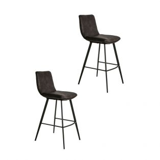 Persis Bar Stool in Anthracite, Set of Two