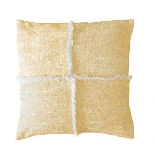 Skye Fringe Cushion in Flax Yellow