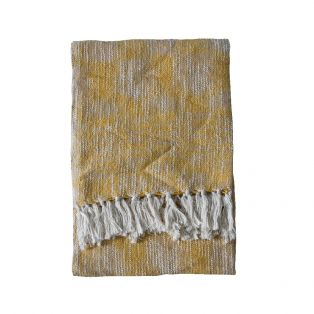 Pax Cotton Throw in Flax Yellow