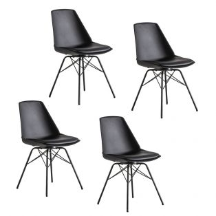 Astrid Dining Chair in Black, Set of four