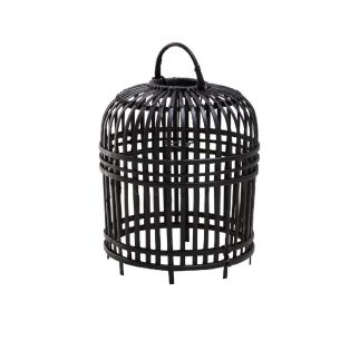 India Small Rattan Lampshade in Black