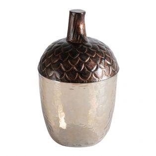 Acorn Decorative Jar in Dark Copper