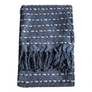 Lewis Knotted Throw in Navy & Cream