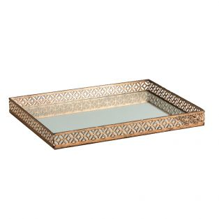Olympia Mirrored Tray in Antique Gold
