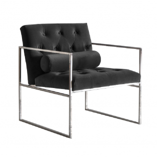 Gus Button-Tufted Armchair in Jet Black Velvet
