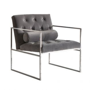 Gus Button-Tufted Armchair in Grey Velvet