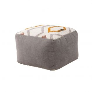 Cava Textured Pouffe in Grey & Ochre