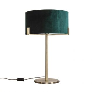 Priscilla Table Lamp in Brushed Gold and Dark Green Velvet