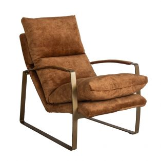 Spencer Suede Leather Lounge Chair in Tan