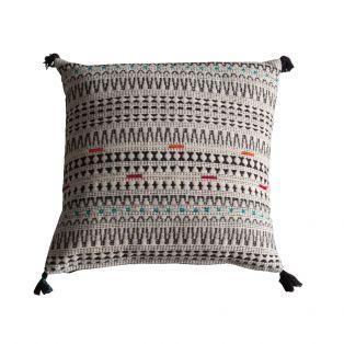 Ezra Multicolour Embroidered Cushion with Black Tassels