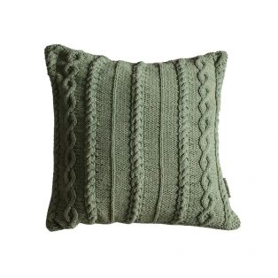 Annie Knitted Cushion in Pastel Sage