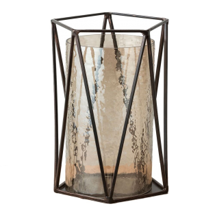 Marina Metal and Lustre Glass Lantern, Small