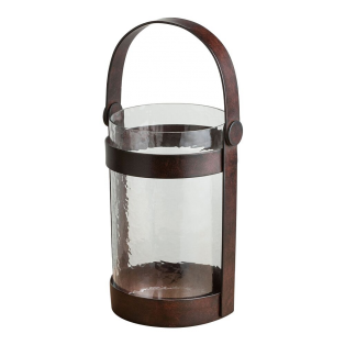 Piper Bronze and Glass Rustic Lantern