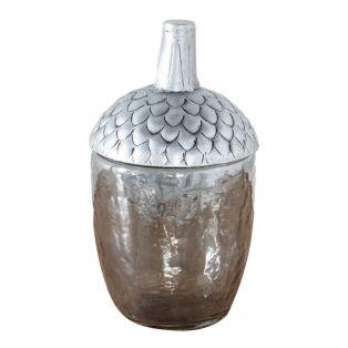 Acorn Decorative Jar in Dark Silver