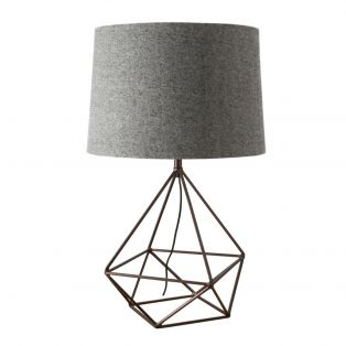 Jaxon Geometric Metal Table Lamp in Brushed Bronze