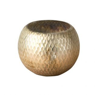 Kaa Hand Carved Glass Votive in Antique Gold