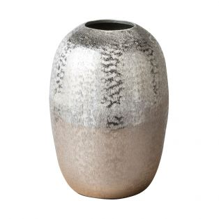 Kir Metallic Textured Vase in Silver