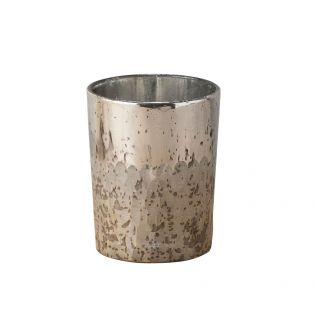 Jayce Vintage Glass Votive in Silver