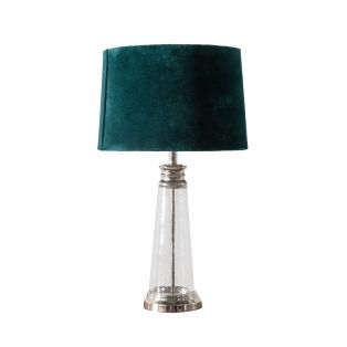 Monique Velvet and Glass Table Lamp in Mallard Blue