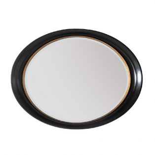 Elena Oval Wall Mirror in Black