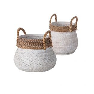 Jax Bamboo and Rattan Basket Set of Two