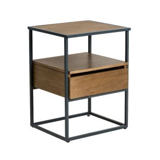 Reed Compact Side Table with a Smoked Finish